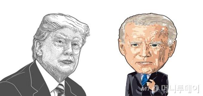 도널드 트럼프 미국 대통령(왼쪽)과 조셉 바이든 미국 민주당 대선 후보의 캐리커쳐//사진=임종철 디자인 기자