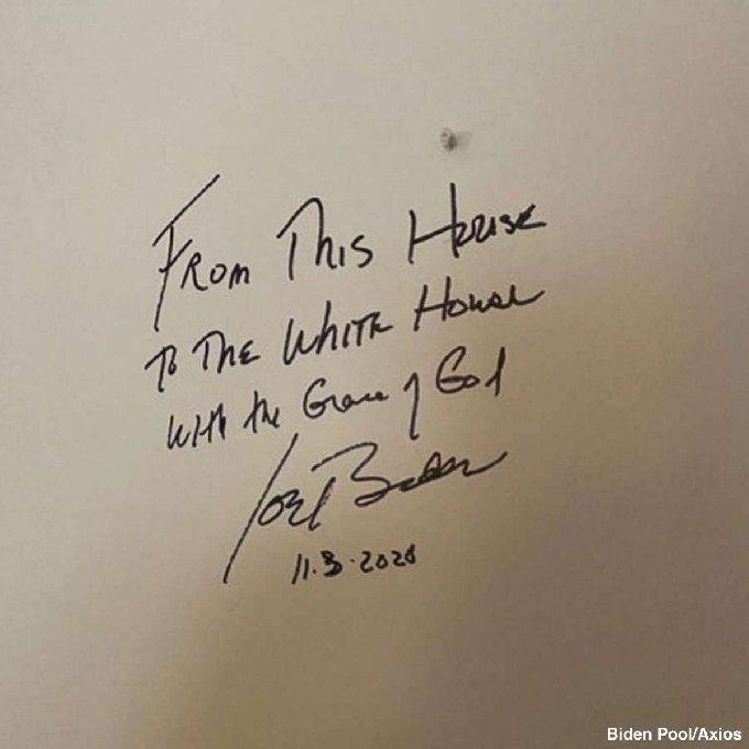 바이든 후보의 친필 서명. © 뉴스1
