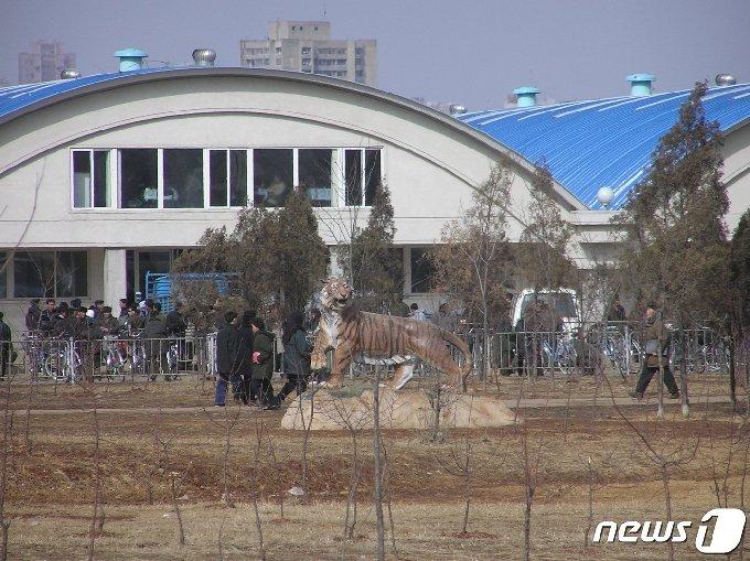 2004년 2월 물건을 사러 나온 평양시민들로 붐비는 통일거리시장 입구 모습. 통일거리시장은 2003년 8월 북한 당국이 건설해 문을 연 첫 '종합시장'이다. © 뉴스1