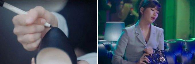 수지(서달미 역)가 극중 까진 구두를 매직으로 칠하는 모습(왼쪽)과 명품 가방을 들고 파티에 참석한 모습./사진=tvN 드라마 '스타트업'