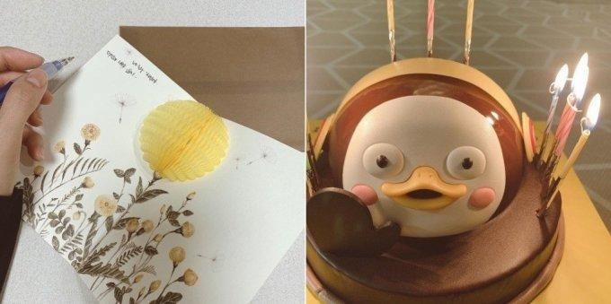 이윤지가 故박지선에게 보낸 카드(왼쪽)와 故박지선을 위해 준비한 생일 케이크./사진=이윤지 인스타그램