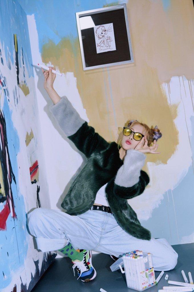 장 미쉘 바스키아의 섹션에서 박규리가 표현한 자유로운 캐릭터. 검은 피카소라고 불린 바스키아의 스트리트적인 자유로운 감성이 그대로 나타나있다. /사진제공=박규리