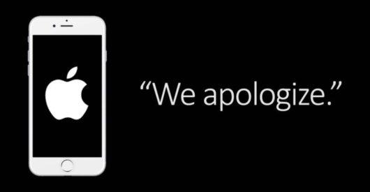 애플이 배터리 게이트 이후 홈페이지에 띄운  사과 메시지 /사진=애플