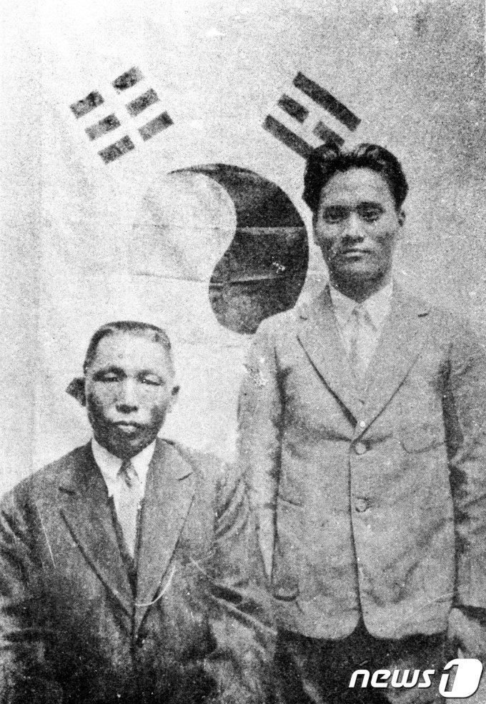 백범 김구 선생(왼쪽)과 윤봉길 의사 모습. (국가보훈처 제공) 2019.11.29/뉴스1