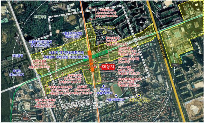 서초구 서초동 1657-2번지 일원 위치도/사진=서울시