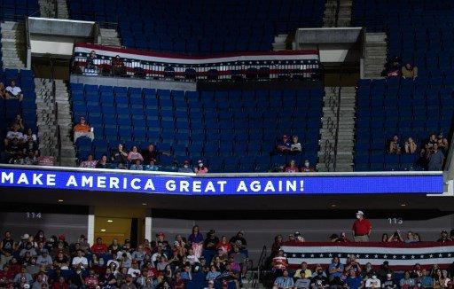 지난 6월 도널드 트럼프 미국 대통령의 유세장 2층이 텅텅 비었다/사진=AFP