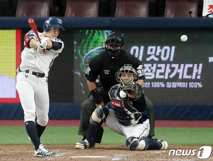 [사진] 박민우 '절묘하게 밀어서 2루타!'