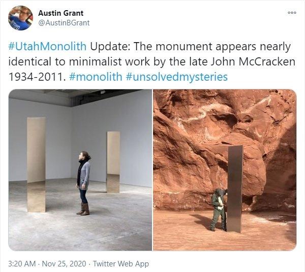 유타주에서 발견된 기둥과 존 맥크래켄의 작품을 비교한 글. /사진=트위터 갈무리