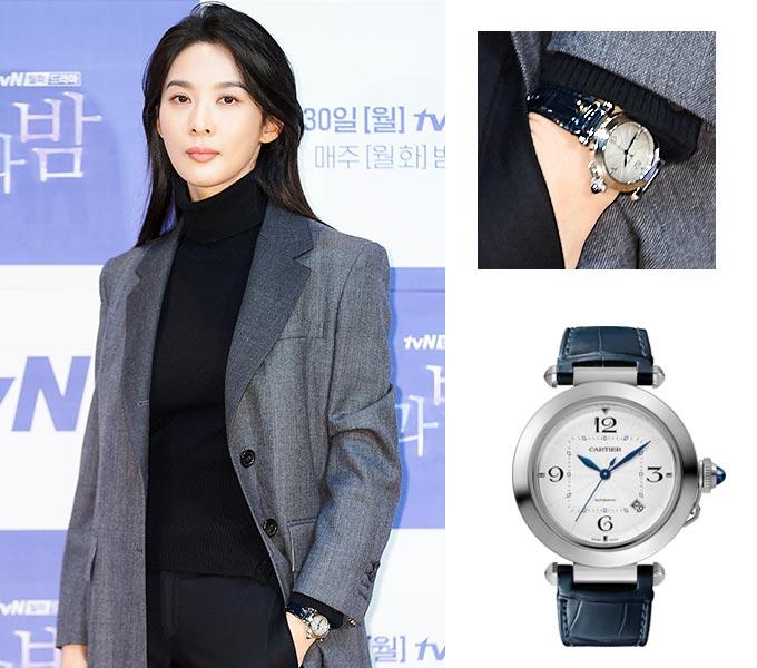 배우 이청아, 이청아가 착용한 까ㅡㄹ띠에 '파샤 드 까르띠에 워치/사진=tvN 제공, 까르띠에