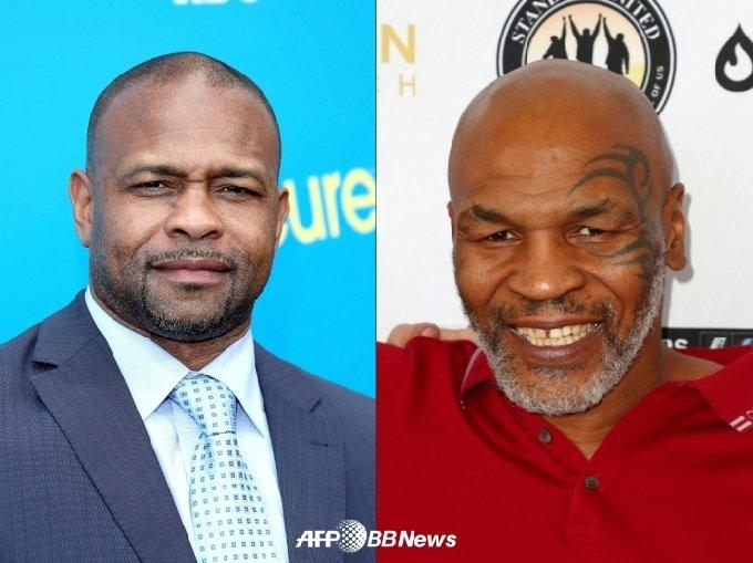 로이 존스 주니어(왼쪽)와 마이크 타이슨. /AFPBBNews=뉴스1