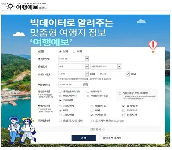 한국관광공사가 지난 10월 말 대한민국 구석구석에 론칭한 여행예보서비스. /사진=문체부
