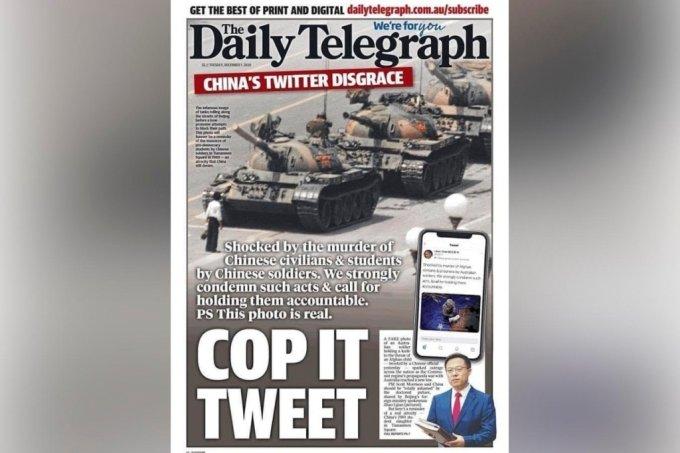 호주 언론 데일리 텔레그래프는 지난 1일 신문 1면에 중국 천안문 사태 당시 사진을 게재하며 맞불을 놓았다. /사진=트위터 캡처.