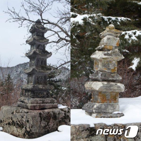 묘향산 법왕대의 다층탑(청탑)과 금선대의 다충탑(백탑). 1576년 서산대가 세운 탑으로 추정된다. (미디어한국학 제공) 2020.12.05.© 뉴스1