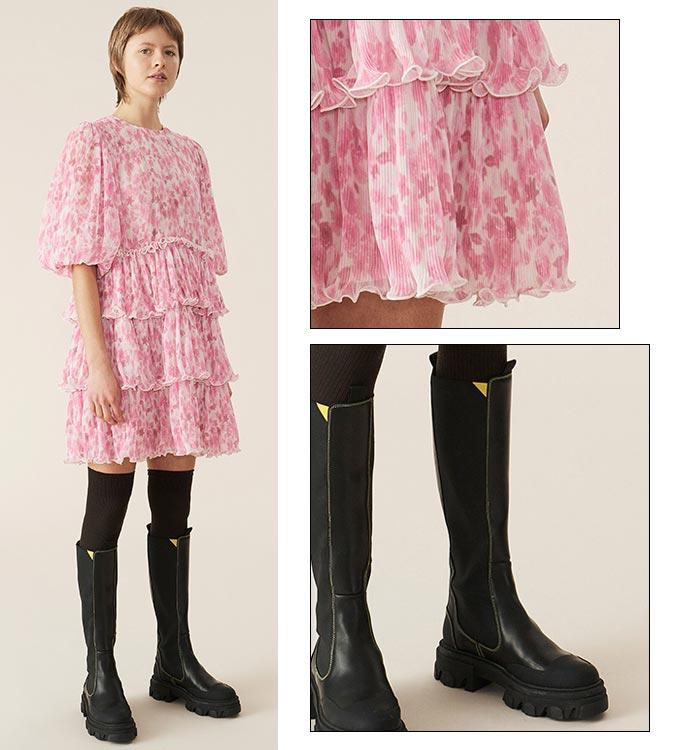 '가니'의 플리츠 조젯 미니 드레스 모델 룩북/사진=가니(Ganni) 공식 홈페이지