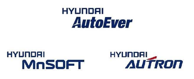 현대오토에버·엠엔소프트·오트론 3사 로고