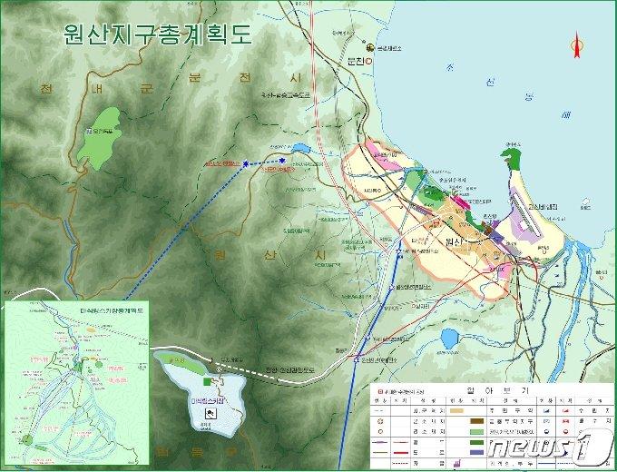 2010년대 초 북한이 작성한 원산지구 개발계획도. (미디어한국학 제공) 2020.12.19.© 뉴스1