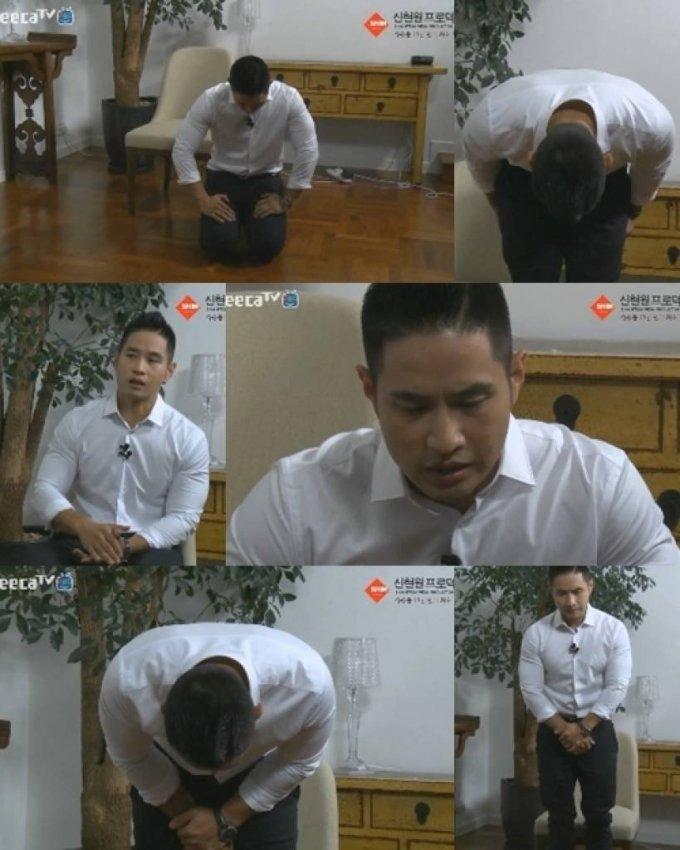 유승준이 과거 무릎을 꿇고 사과하는 장면 / 사진제공=화면캡처