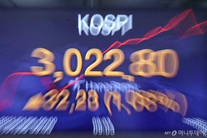 [서울=뉴시스]김병문 기자 = 코스피가 전 거래일(2990.57)보다 2.77포인트(0.09%) 오른 2993.34에 개장하며 사상 처음 3000선을 넘은 6일 오전 서울 중구 하나은행 딜링룸 전광판에 코스피가 3,022.80을 나타내고 있다. 이날 코스닥은 전 거래일(985.76)보다 1.49포인트(0.15%) 오른 987.25에, 서울 외환시장에서 원·달러 환율은 전 거래일(1087.6원)보다 0.6원 내린 1087.0원에 출발했다. 2021.01.06. dadazon@newsis.com