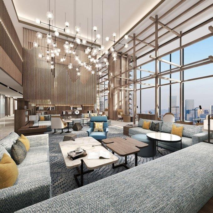 오는 9일 메리어트 인터내셔널이 대구 지역 최초로 오픈하는 대구 메리어트 호텔의 3층 로비 라운지 전경. /사진=메리어트 인터내셔널