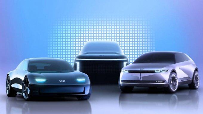 현대차 아이오닉 브랜드 제품 라인업 렌더링 이미지(좌측부터 아이오닉 6, 아이오닉 7, 아이오닉 5)/사진제공=현대차