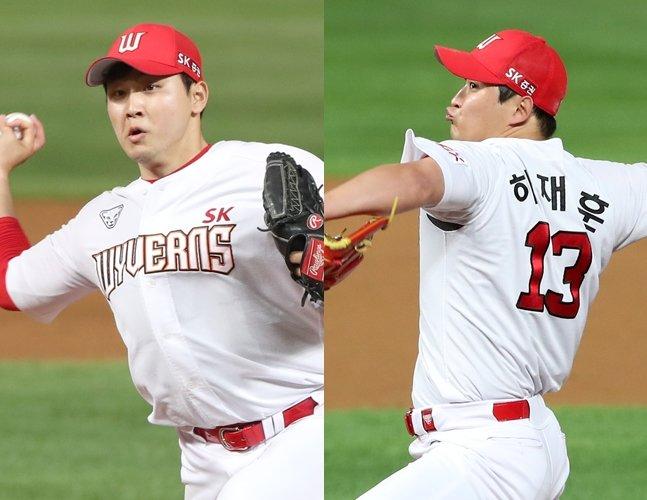 박민호(왼쪽)와 하재훈./사진=SK 와이번스