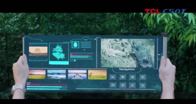 TCL이 세계 최초로 개발했다고 주장하는 '상소문 디스플레이'/사진=TCL CES 캡처