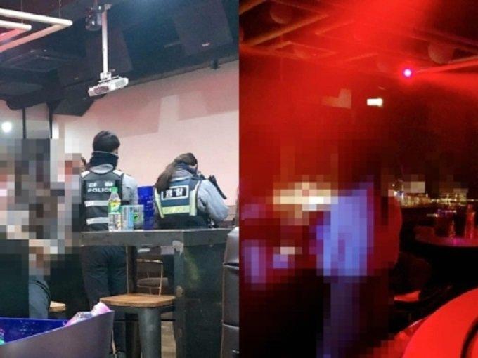 경찰이 단속을 나오자 A클럽라운지는 일반 술집처럼 조명을 밝게하고 음악을 껐다. 하지만 경찰이 떠나자 '클럽'으로 변했다./사진=머니투데이 취재팀