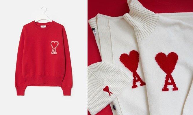 지난해 한국 패션시장에서 2030 소비자들에게 폭발적 인기를 끈 아미(AMI). 아미의 스웨트셔츠(왼쪽) 이미지/사진=SSF샵