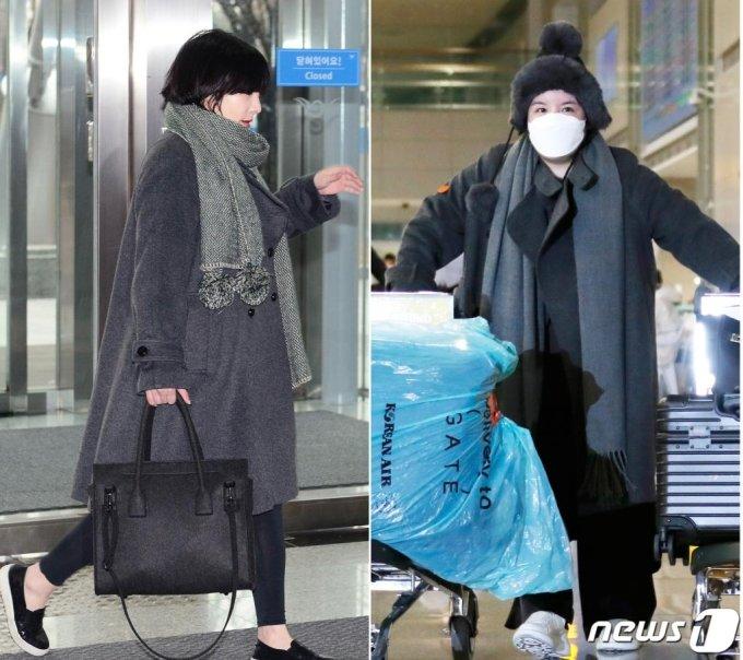 (인천공항=뉴스1) 권현진 기자 = 에이미는 지난 2015년 12월 말 강제 출국한 날 입었던 코트와 같은 의상을 입고 나와 눈길을 끌었다. 오른쪽이 이날 입국한 에이미의 모습.