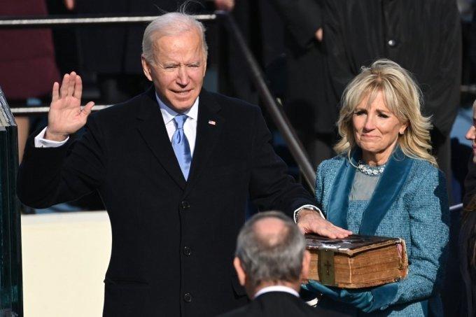 20일(현지시간) 제46대 미국 대통령 취임 선서를 하는 조 바이든 대통령./ 사진=뉴스1