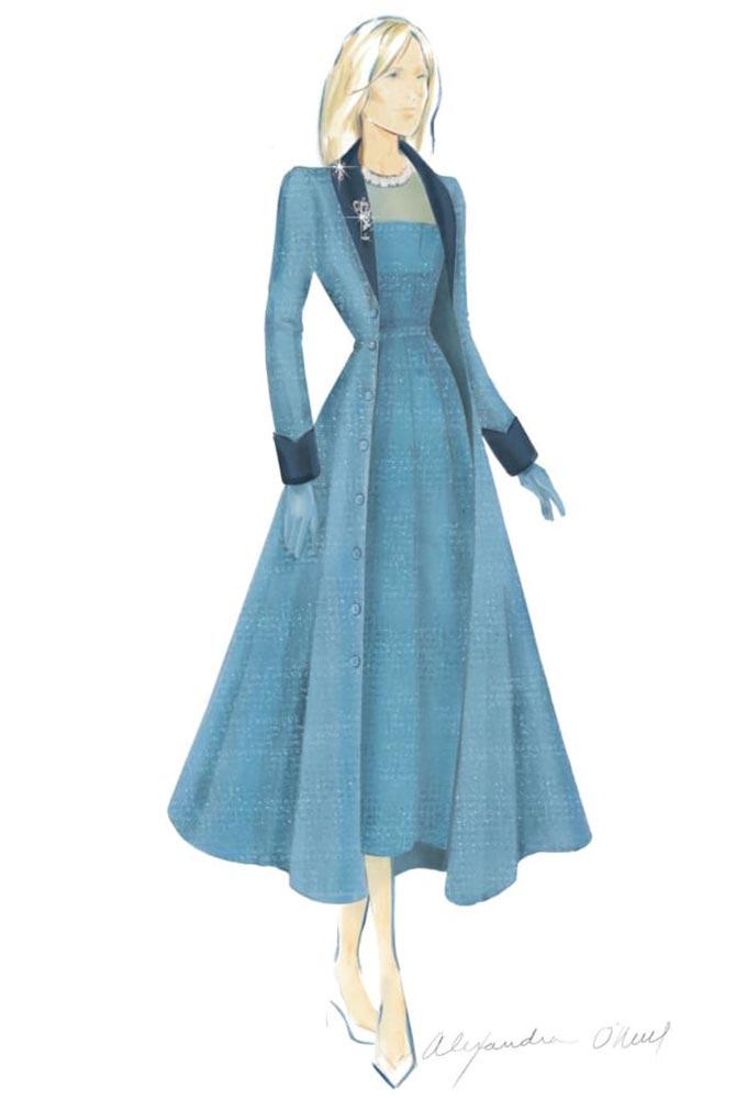 패션 브랜드 '마카리안'이 공개한 질 바이든 여사의 취임식 의상 스케치/사진=마카리안