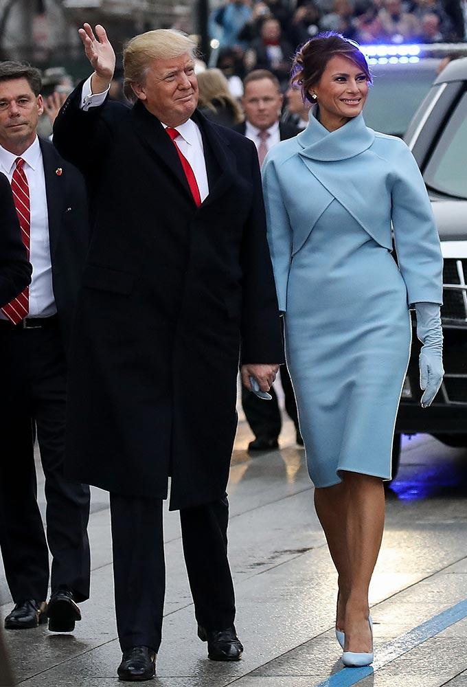 도널드 트럼프 전 미국 대통령과 멜라니아 트럼프 여사가 2017년 취임식 퍼레이드에 참석하는 모습/사진=AFP/뉴스1