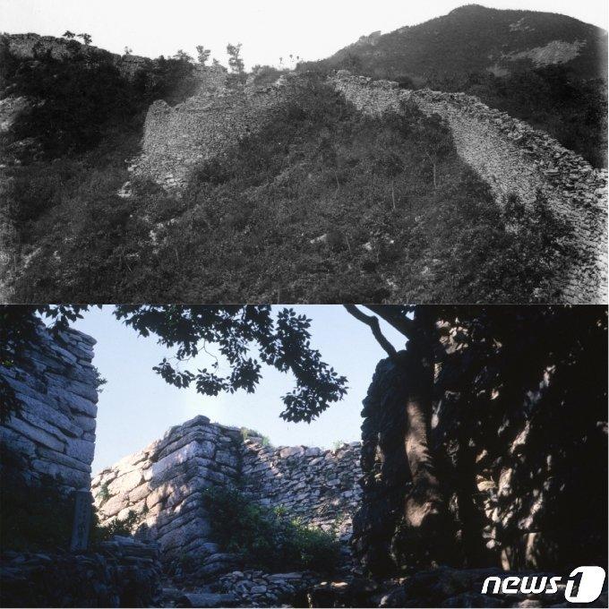 일제강점기에 촬영된 수양산성 성곽(위)과  현재 남아 있는 수양산성 남문 성곽 모습(아래). (미디어한국학 제공) 2021.01.23.© 뉴스1