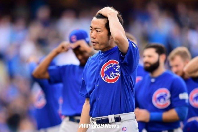 2017년 시카고 컵스 시절의 우에하라. /AFPBBNews=뉴스1
