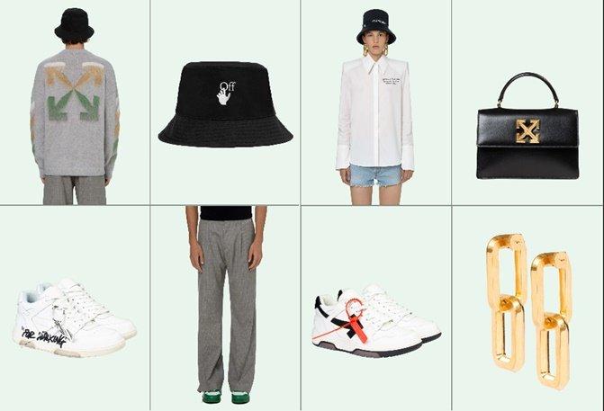 오프화이트의 패션의류, 스니커즈, 소품 및 가죽제품들/사진=오프화이트 공식 홈페이지