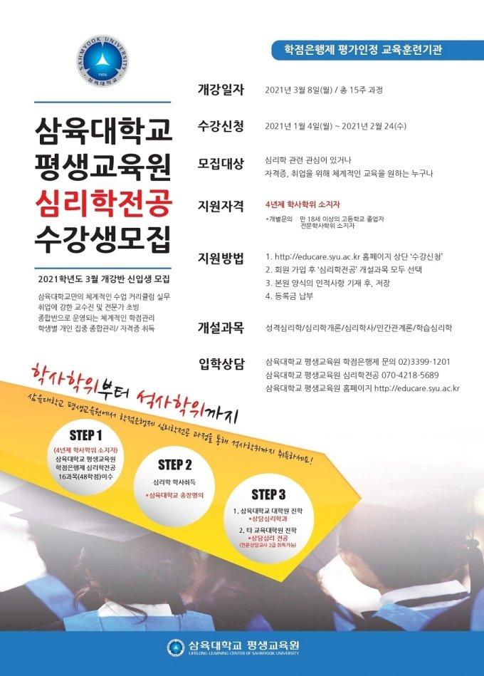 삼육대 평생교육원, 학점은행제 '심리학 전공' 신설