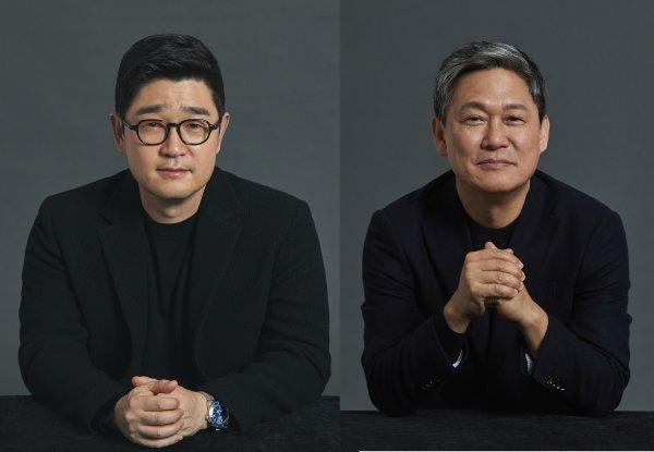이진수 카카오페이지 대표(왼쪽), 김성수 카카오M 대표./사진=각사