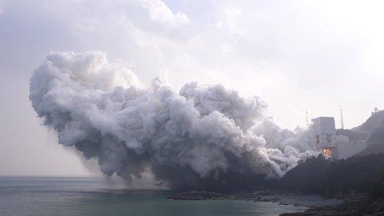 전남 고흥 나로우주센터에서 30초간 진행된 누리호 1단부 연소시험/사진=항우연