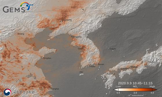 천리안위성 2B호가 촬영한 한반도 주변 이산화질소 농도(20년 9월 9일)/사진=항우연