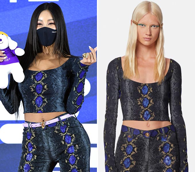 가수 제시, 베르사체 2021 리조트 컬렉션/사진=서울가요대전, 베르사체(Versace)
