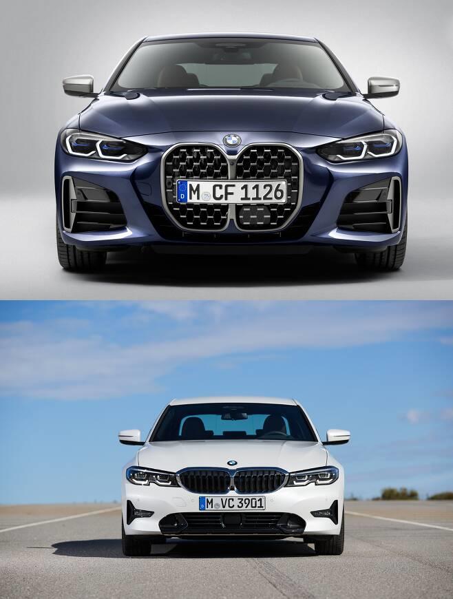 BMW 신형 4시리즈(위)과 3시리즈 세단(아래)의 전면부 디자인 비교./사진제공=BMW그룹
