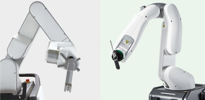 왼쪽부터 척추수술로봇 '큐비스-스파인', 인공관절수술로봇 '큐비스-조인트'/사진제공=큐렉소
