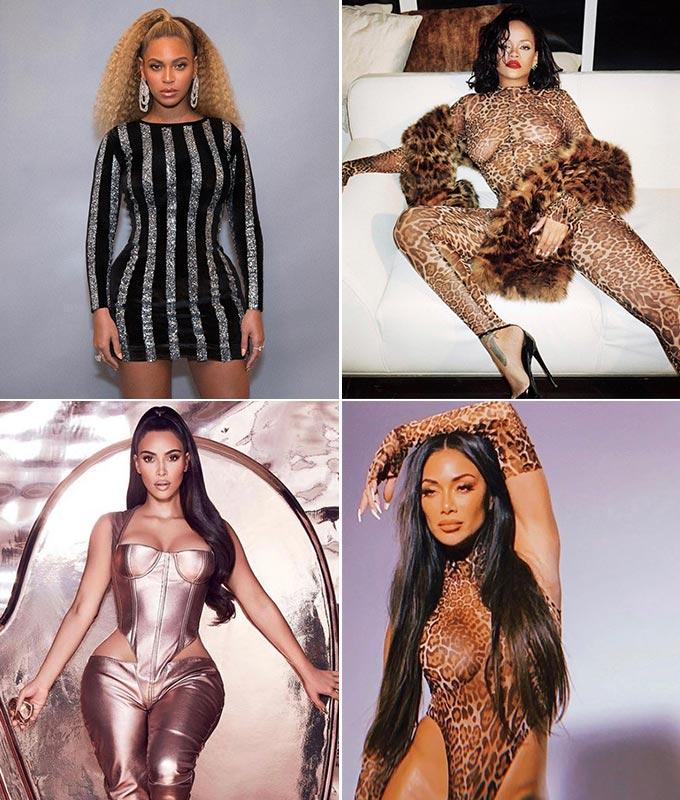 (왼쪽부터 시계 방향으로) 팝 가수 비욘세, 리한나, 니콜 셰르징거, 할리우드 스타 킴 카다시안 /사진=라콴 스미스 인스타그램