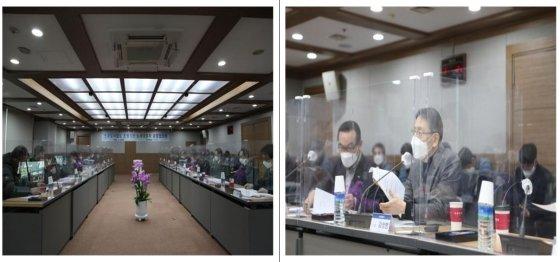 김상범 서울교통공사 사장(오른쪽 사진)이 지난 18일 대구에서 열린 6개 운영기관 노사대표자 공동협의회에서 발언하고 있다./사진제공=서울교통공사