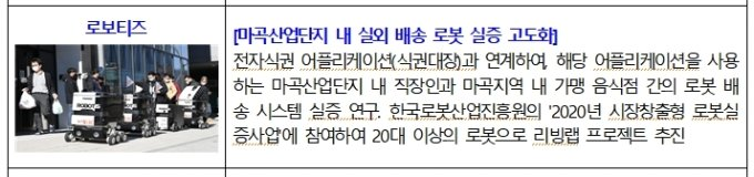 '마곡 스마트시티 리빙랩'에서 기술실증이 진행된 로보티즈의 자율주행 로봇 음식배달 /사진=서울시