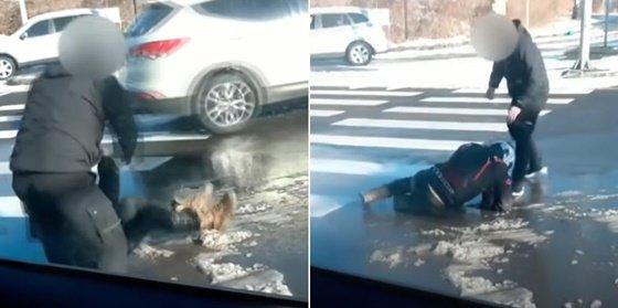 자리를 떠나는 듯 했던 운전자가 장소를 바꿔 제보자를 다시 폭행했다./사진=유튜브채널 한문철TV 영상 캡처