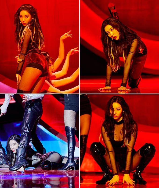 '꼬리'(TAIL) 발매 쇼케이스에서 멋진 무대를 선보이고 있는 가수 선미/사진=어비스컴퍼니