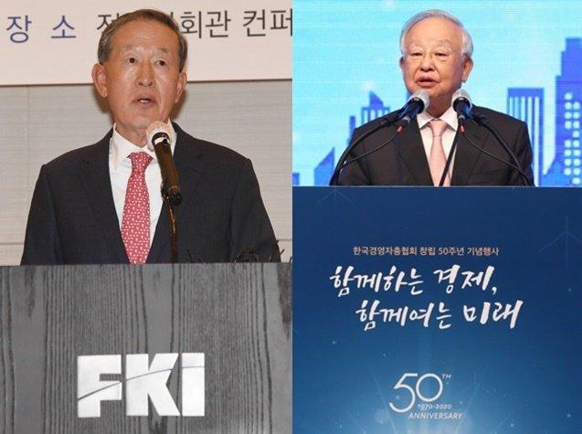 (왼쪽부터)허창수 전국경제인연합회 회장, 손경식 한국경영자총협회 회장/사진=머니투데이DB