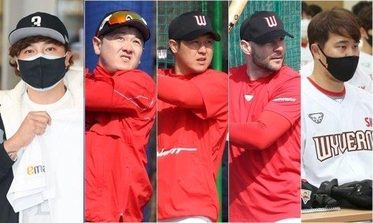 추신수(왼쪽부터), 최주환, 최정, 로맥, 한유섬. /사진=OSEN, SK 와이번스