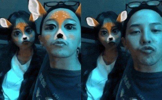 과거 이주연(왼쪽)이 공개했었던 지드래곤(오른쪽)과 찍은 영상 캡처./사진=이주연 인스타그램